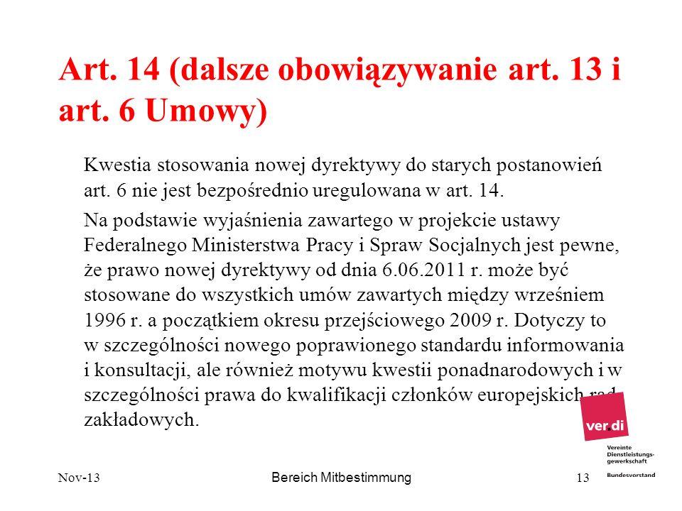 Art. 14 (dalsze obowiązywanie art. 13 i art. 6 Umowy)