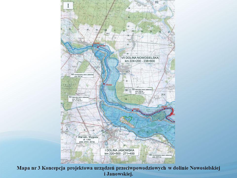 Mapa nr 3 Koncepcja projektowa urządzeń przeciwpowodziowych w dolinie Nowosielskiej i Janowskiej.