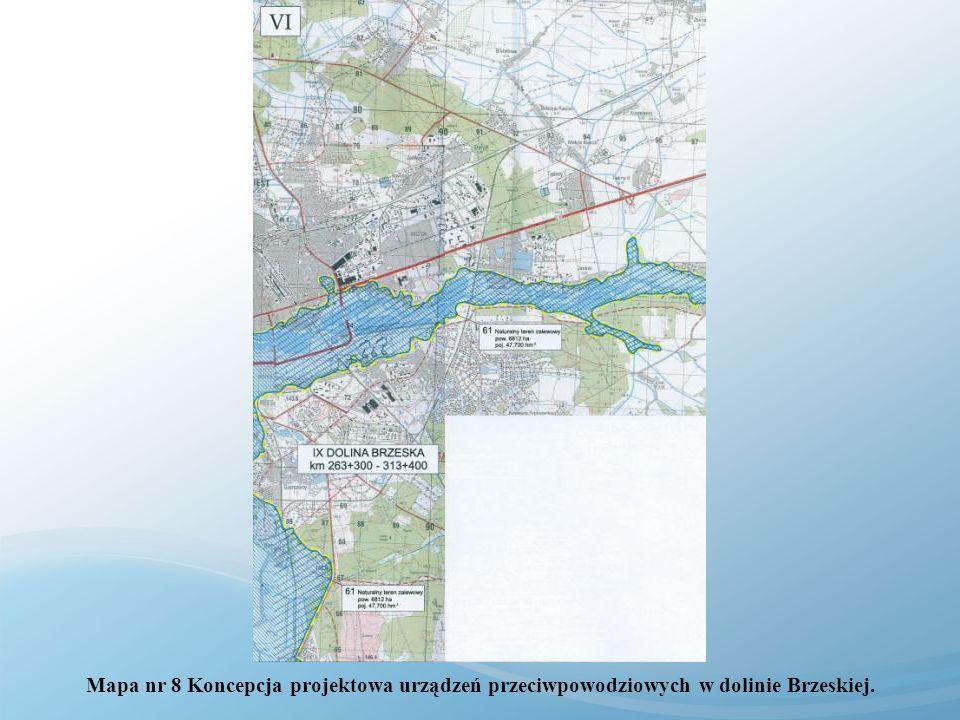 Mapa nr 8 Koncepcja projektowa urządzeń przeciwpowodziowych w dolinie Brzeskiej.