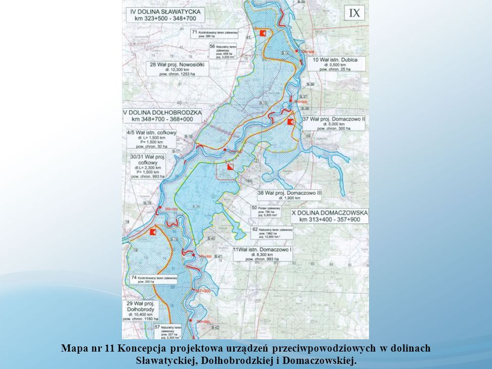 Mapa nr 11 Koncepcja projektowa urządzeń przeciwpowodziowych w dolinach Sławatyckiej, Dołhobrodzkiej i Domaczowskiej.