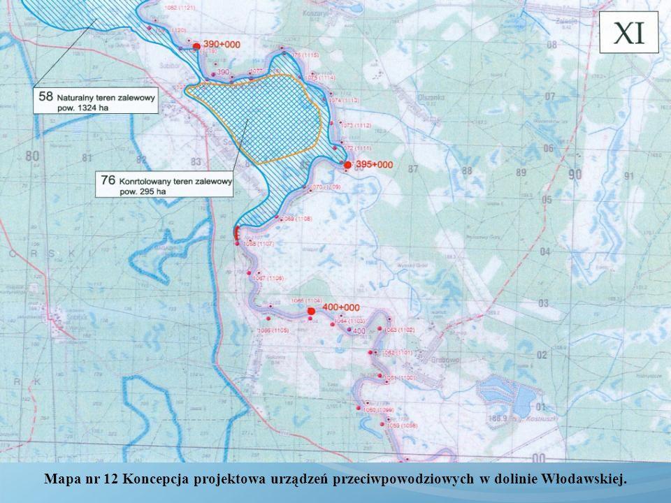 Mapa nr 12 Koncepcja projektowa urządzeń przeciwpowodziowych w dolinie Włodawskiej.