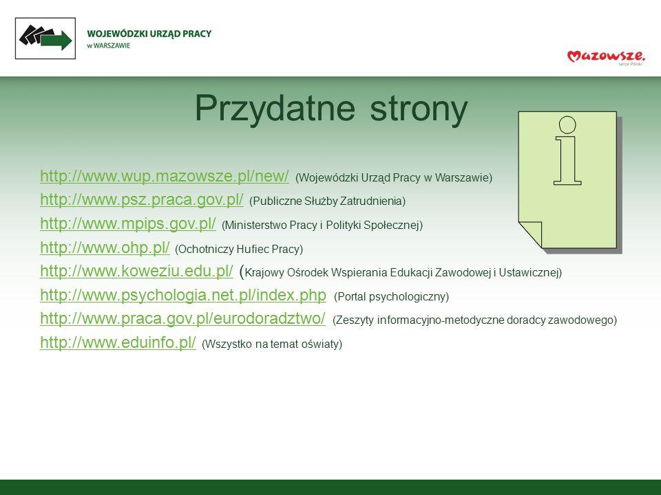 Przydatne strony http://www.wup.mazowsze.pl/new/ (Wojewódzki Urząd Pracy w Warszawie) http://www.psz.praca.gov.pl/ (Publiczne Służby Zatrudnienia)
