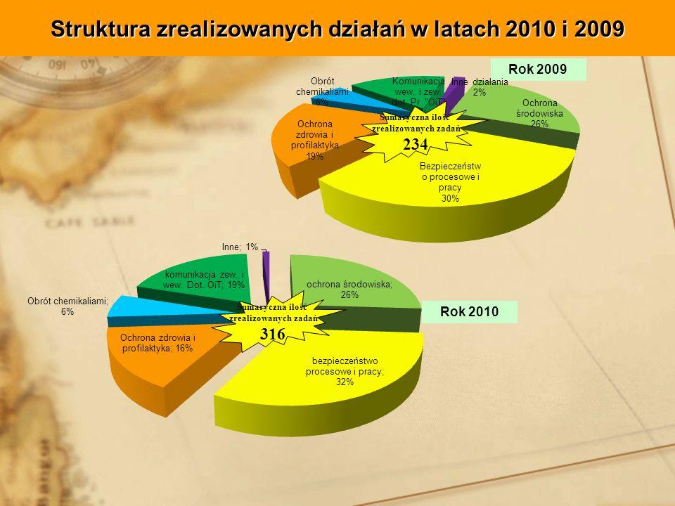 Struktura zrealizowanych działań w latach 2010 i 2009