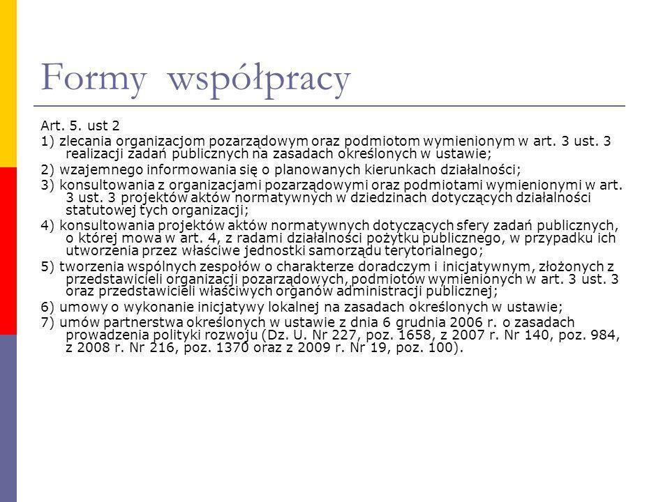 Formy współpracy Art. 5. ust 2