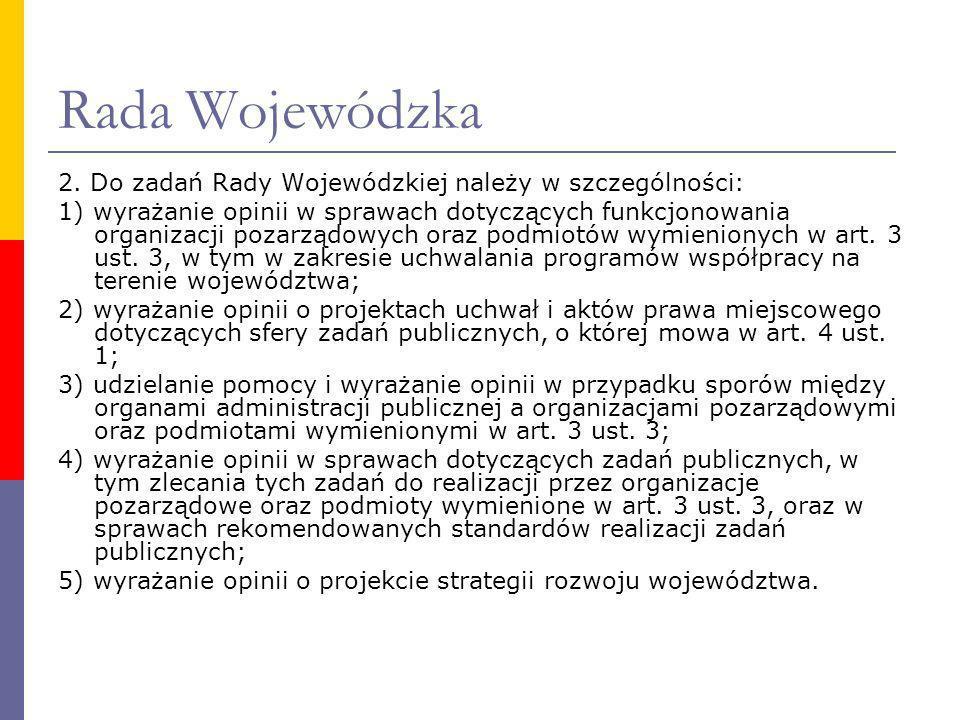 Rada Wojewódzka 2. Do zadań Rady Wojewódzkiej należy w szczególności: