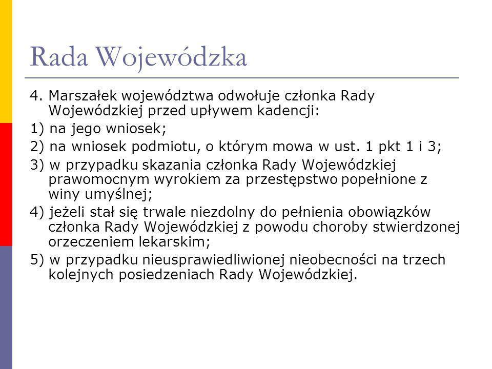 Rada Wojewódzka 4. Marszałek województwa odwołuje członka Rady Wojewódzkiej przed upływem kadencji: