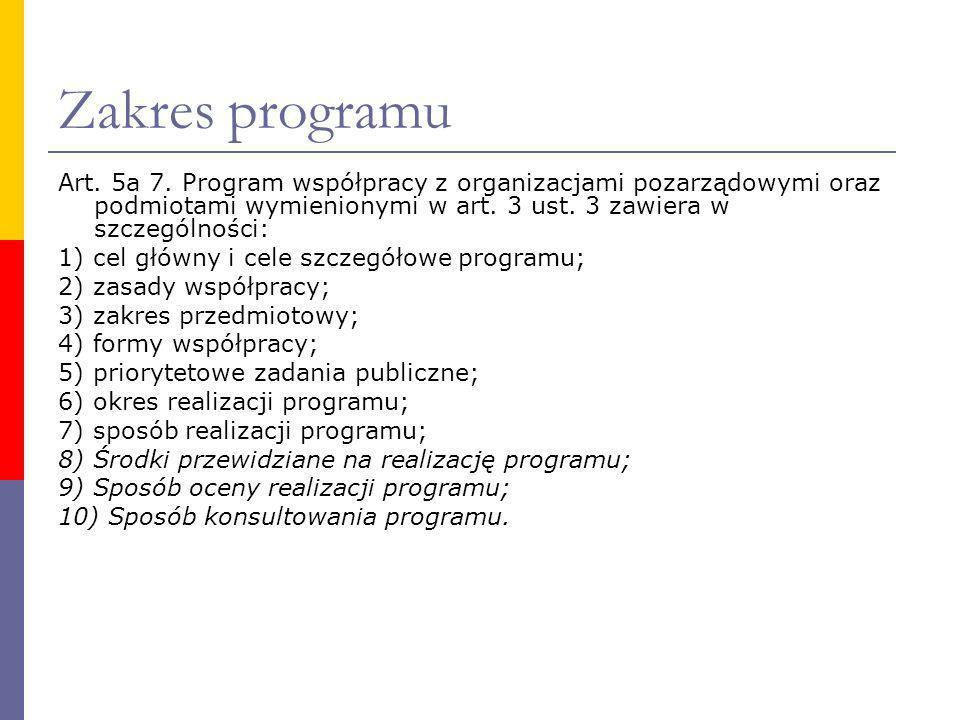 Zakres programu Art. 5a 7. Program współpracy z organizacjami pozarządowymi oraz podmiotami wymienionymi w art. 3 ust. 3 zawiera w szczególności: