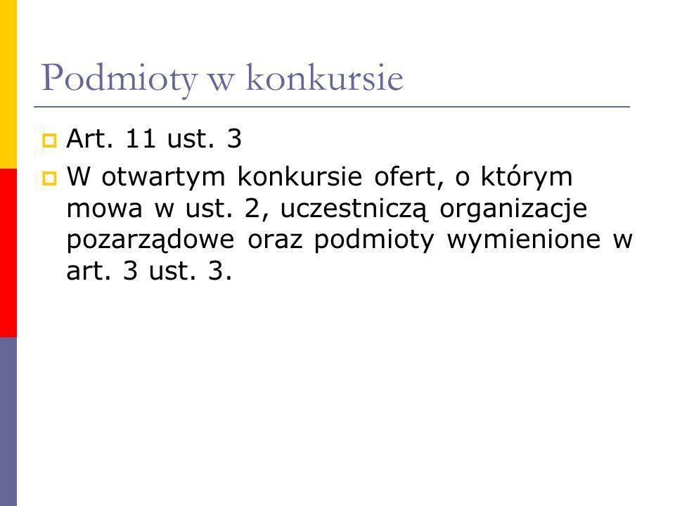 Podmioty w konkursie Art. 11 ust. 3