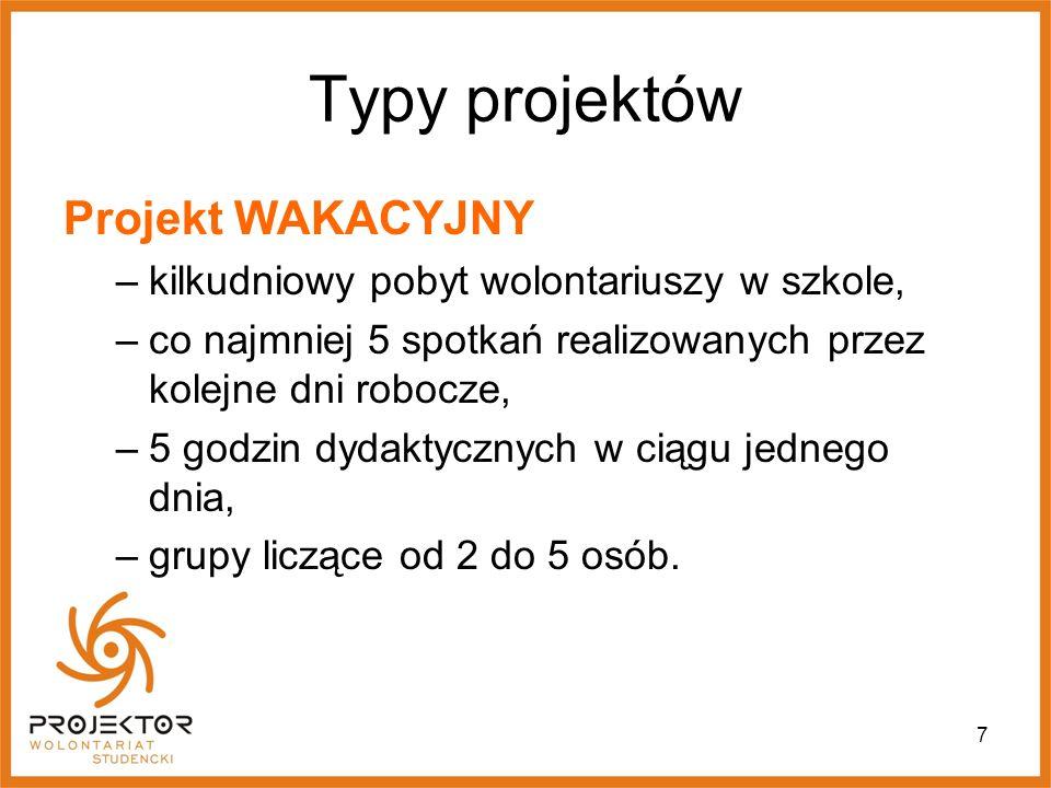 Typy projektów Projekt WAKACYJNY
