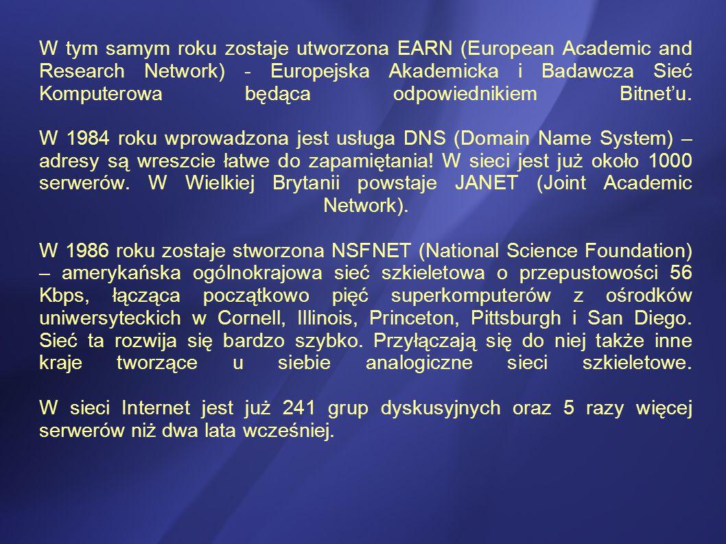 W tym samym roku zostaje utworzona EARN (European Academic and Research Network) - Europejska Akademicka i Badawcza Sieć Komputerowa będąca odpowiednikiem Bitnet'u.