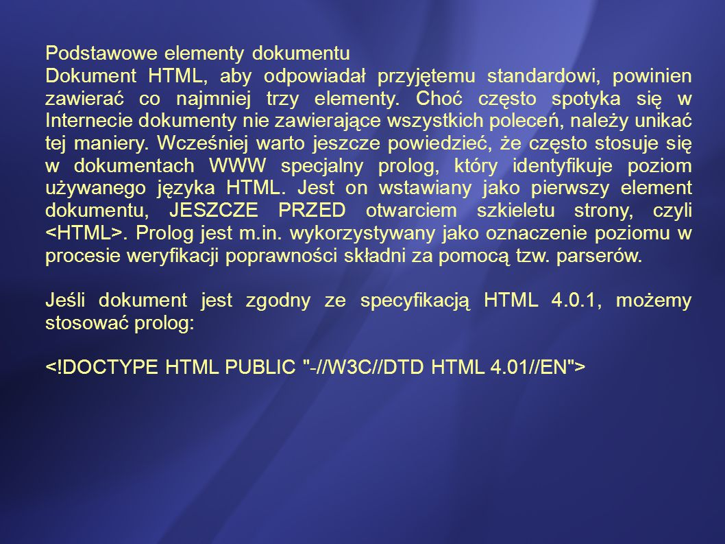 Podstawowe elementy dokumentu