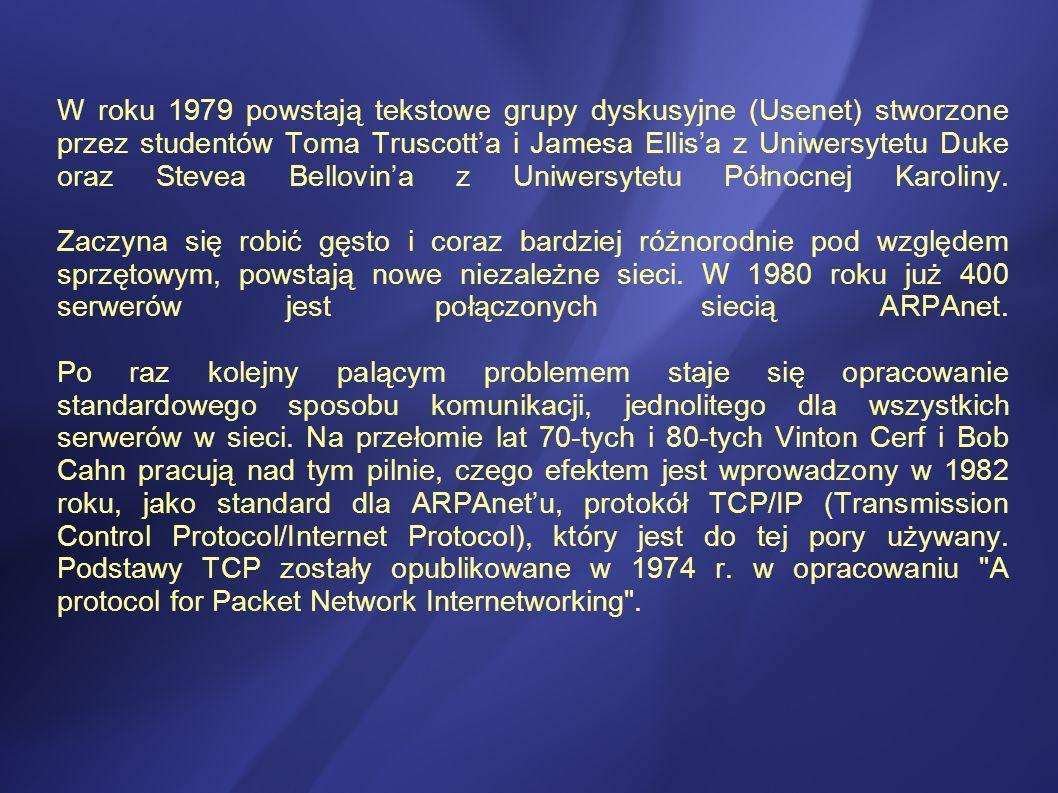 W roku 1979 powstają tekstowe grupy dyskusyjne (Usenet) stworzone przez studentów Toma Truscott'a i Jamesa Ellis'a z Uniwersytetu Duke oraz Stevea Bellovin'a z Uniwersytetu Północnej Karoliny.