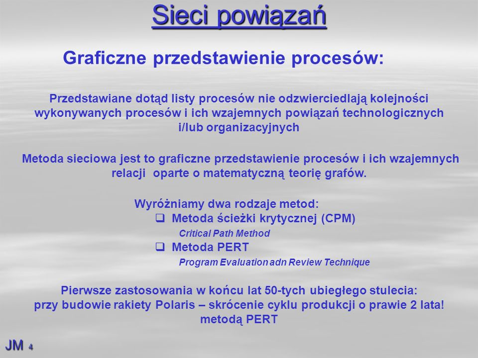 Sieci powiązań Graficzne przedstawienie procesów: JM 4