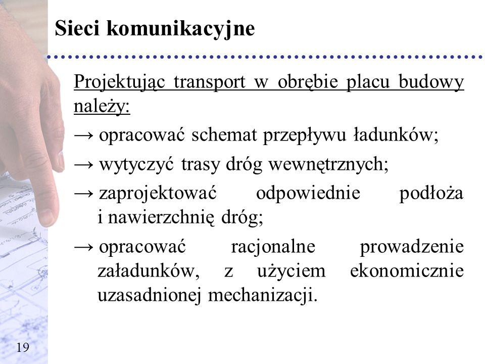 Sieci komunikacyjneProjektując transport w obrębie placu budowy należy: opracować schemat przepływu ładunków;