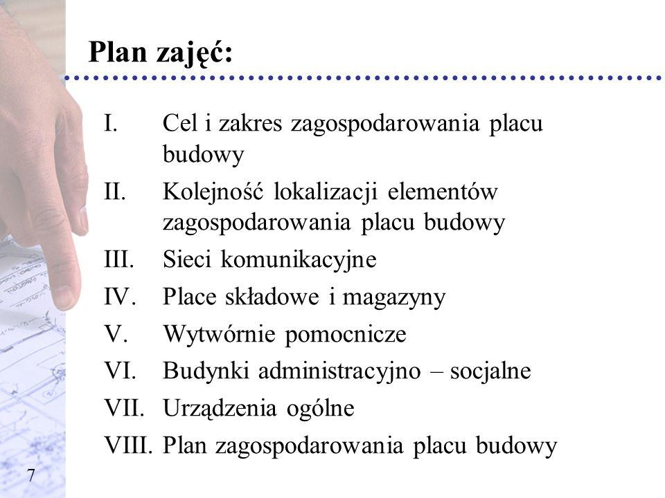 Plan zajęć: Cel i zakres zagospodarowania placu budowy