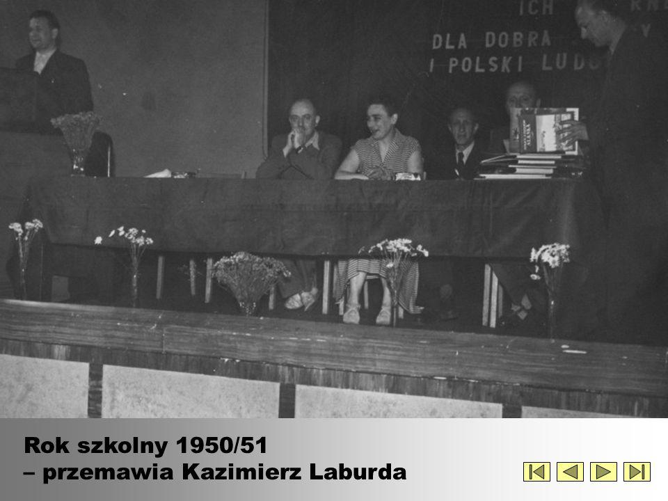 Rok szkolny 1950/51 – przemawia Kazimierz Laburda