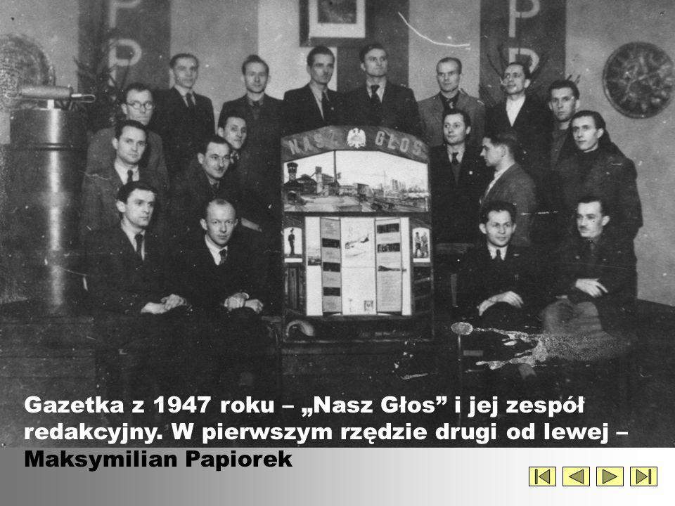 """Gazetka z 1947 roku – """"Nasz Głos i jej zespół redakcyjny"""