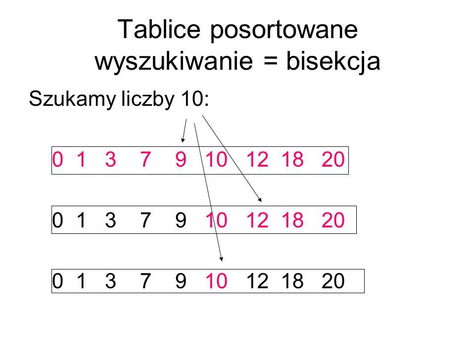 Tablice posortowane wyszukiwanie = bisekcja