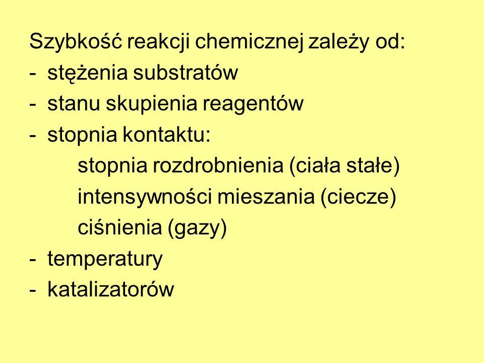 Szybkość reakcji chemicznej zależy od: