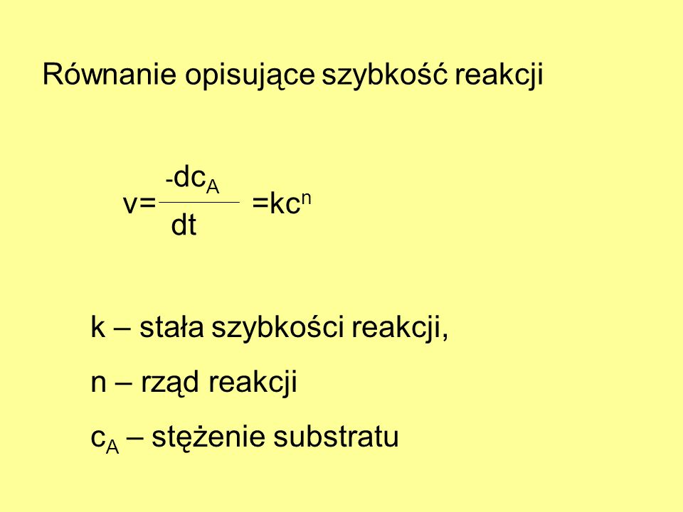 Równanie opisujące szybkość reakcji