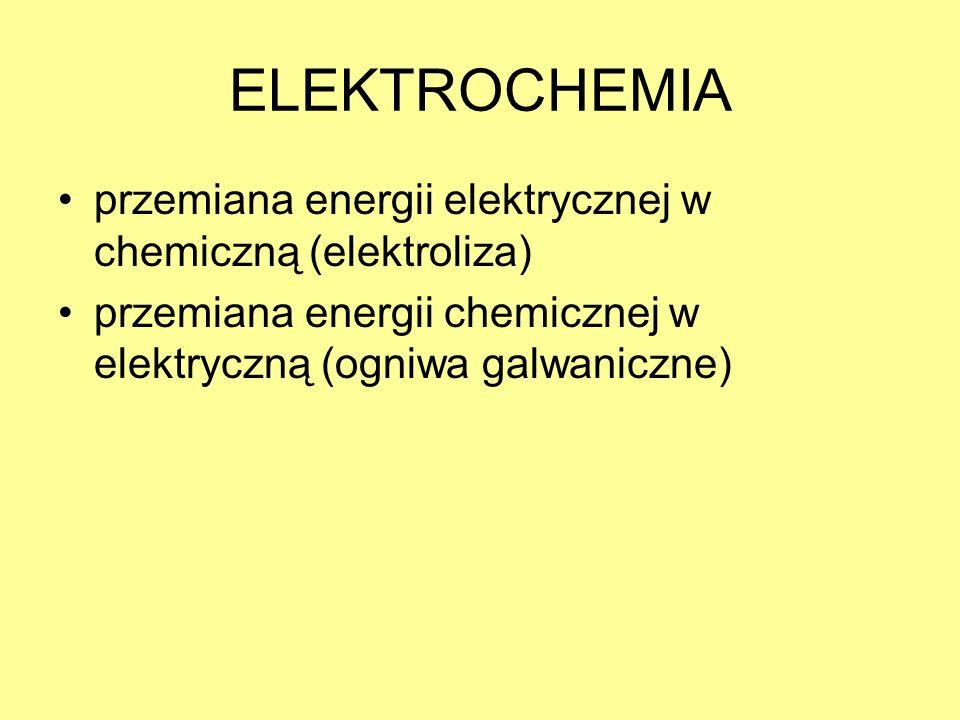 ELEKTROCHEMIA przemiana energii elektrycznej w chemiczną (elektroliza)