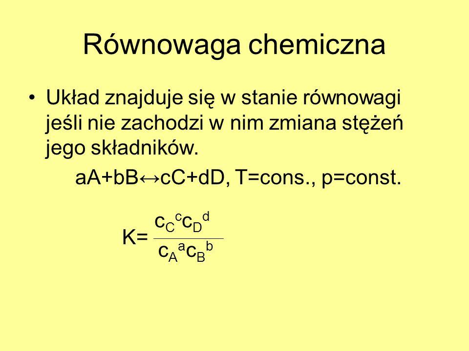 Równowaga chemiczna Układ znajduje się w stanie równowagi jeśli nie zachodzi w nim zmiana stężeń jego składników.
