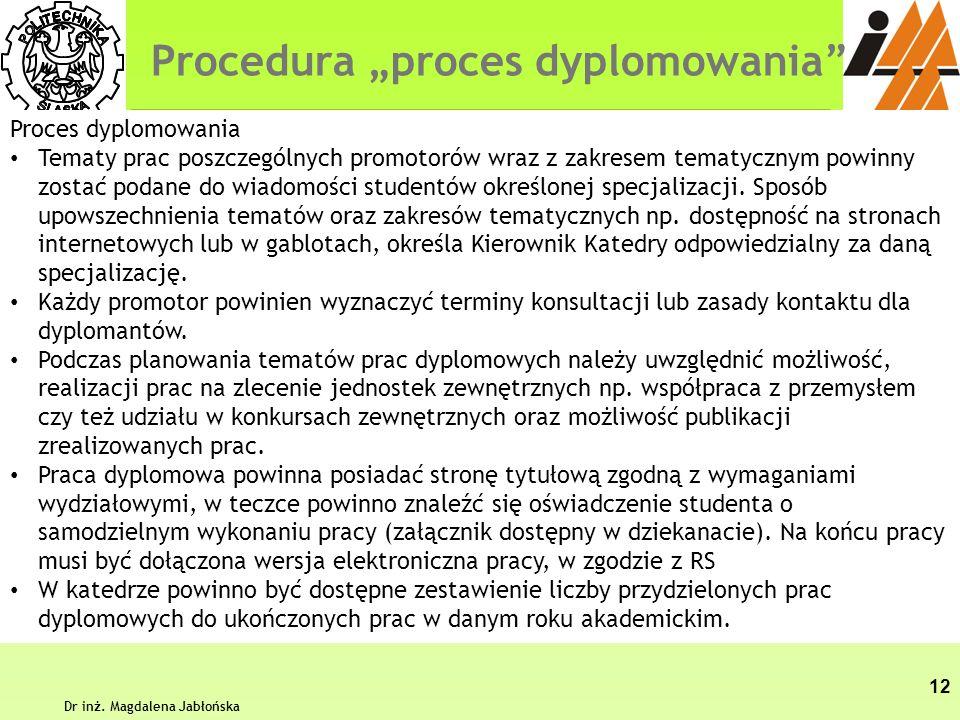 """Procedura """"proces dyplomowania"""