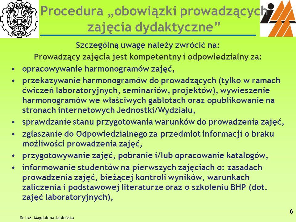 """Procedura """"obowiązki prowadzących zajęcia dydaktyczne"""