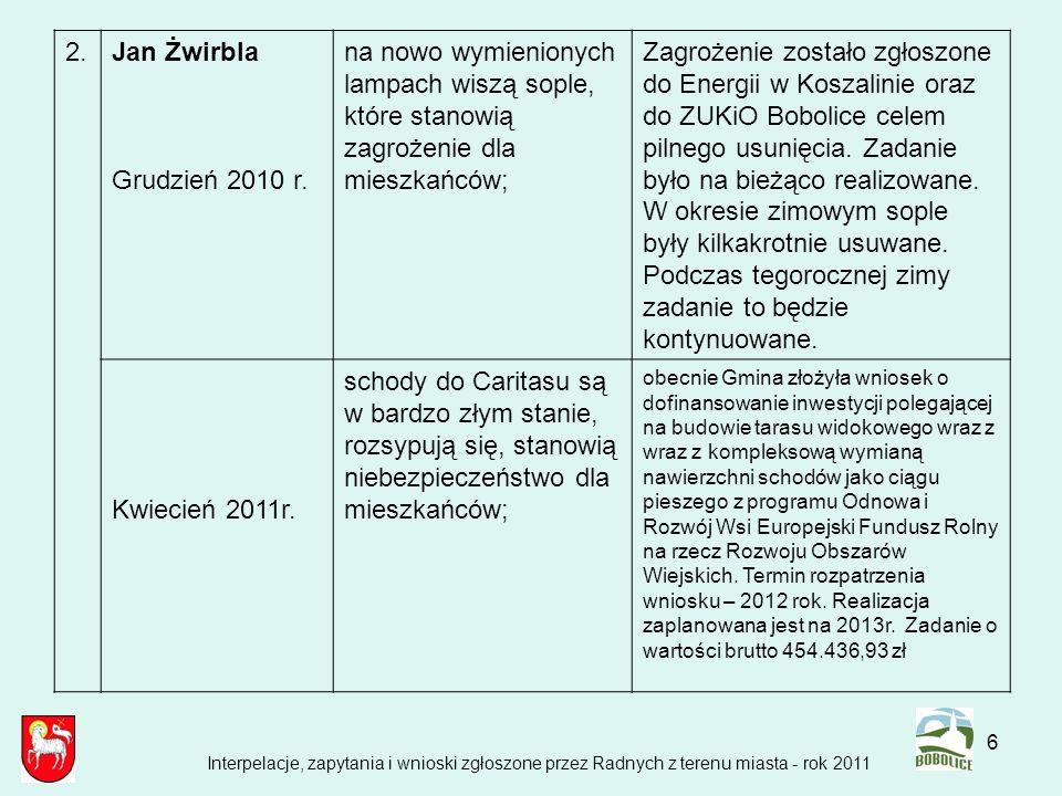 2.Jan Żwirbla. Grudzień 2010 r. na nowo wymienionych lampach wiszą sople, które stanowią zagrożenie dla mieszkańców;