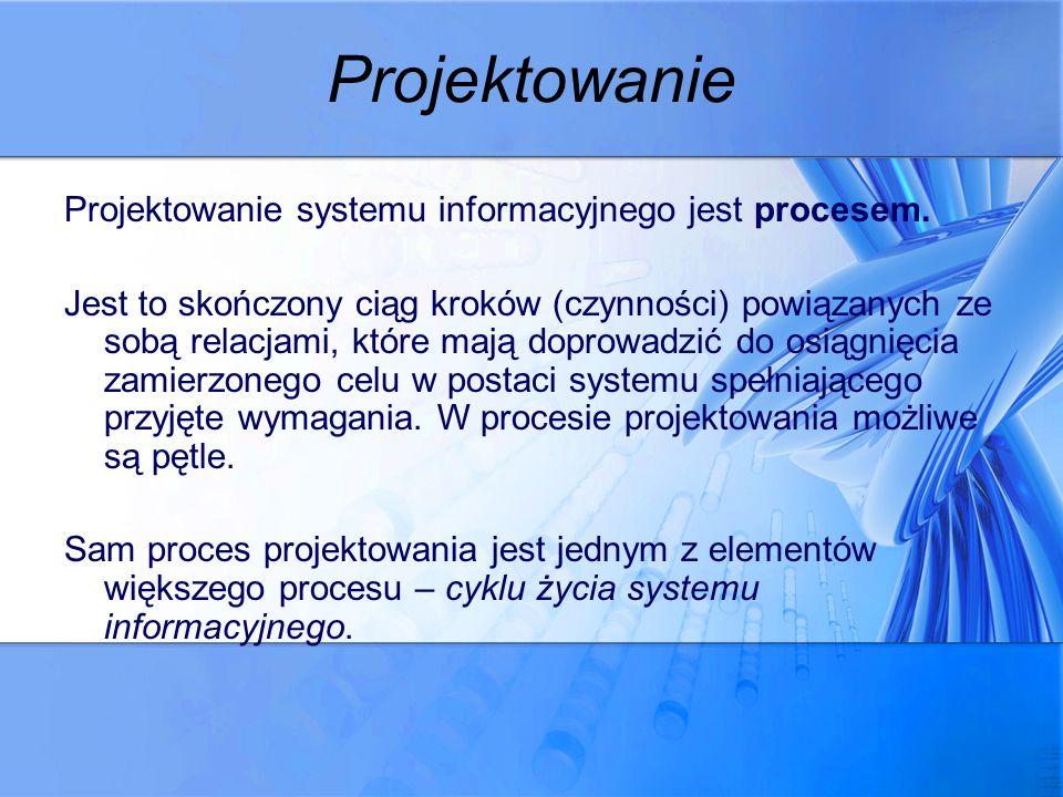 Projektowanie Projektowanie systemu informacyjnego jest procesem.