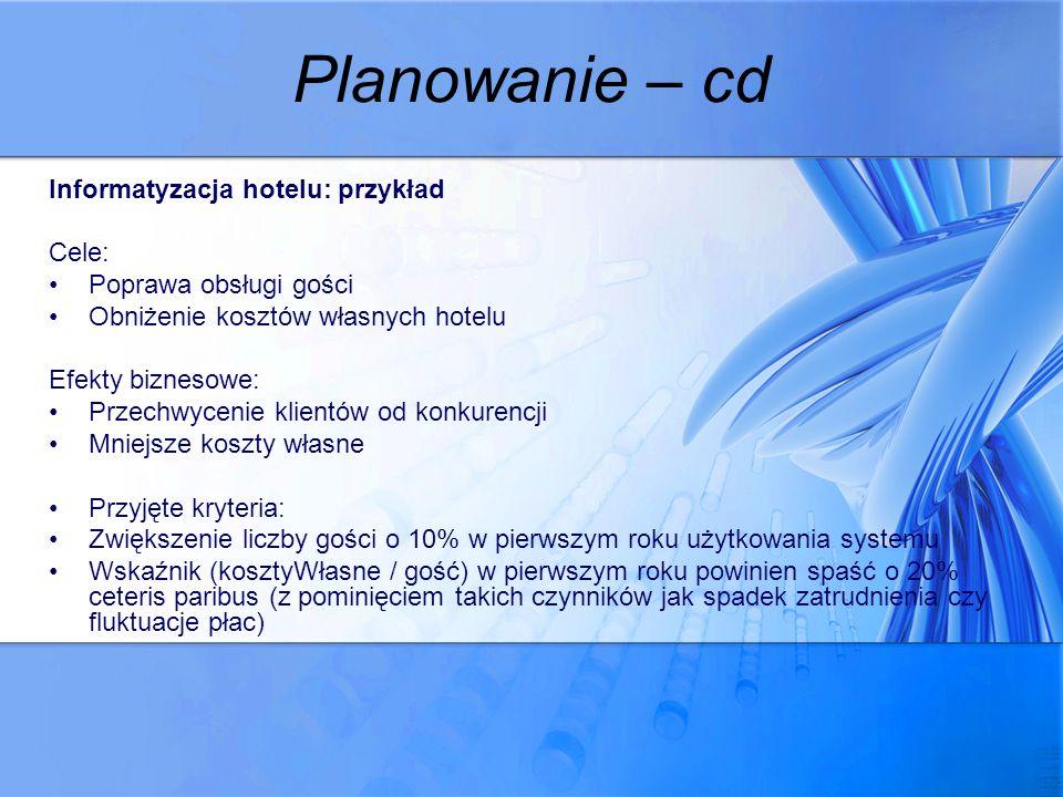 Planowanie – cd Informatyzacja hotelu: przykład Cele: