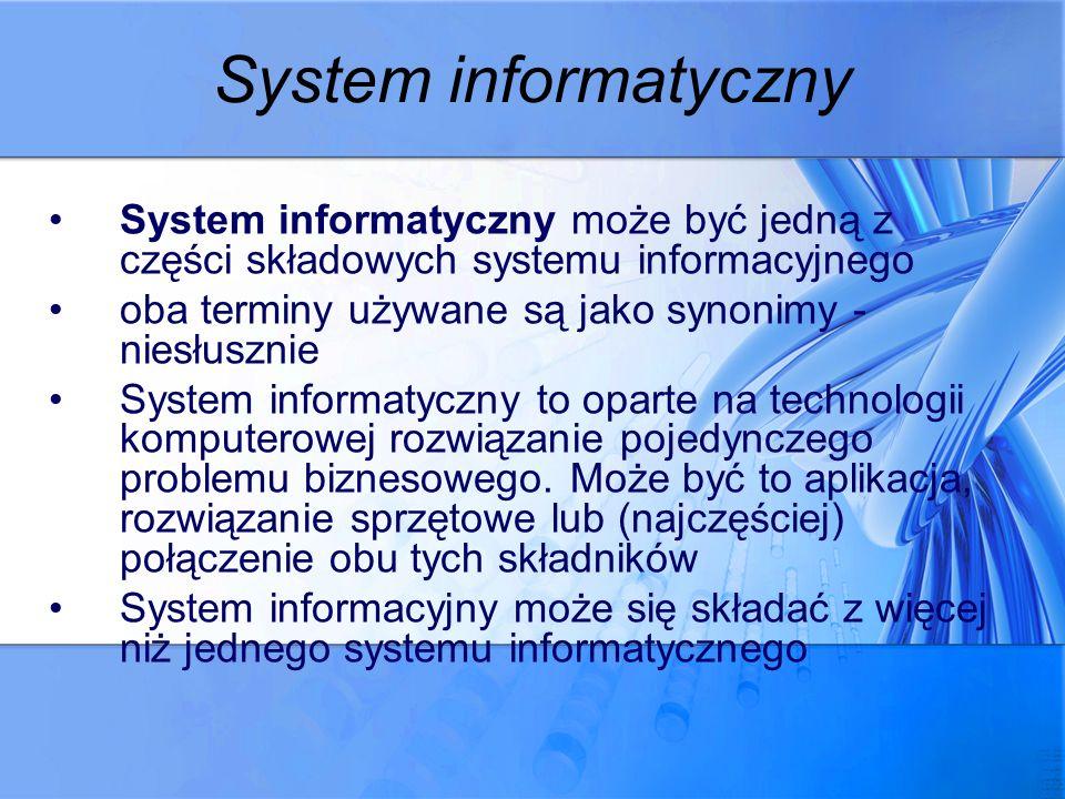 System informatyczny System informatyczny może być jedną z części składowych systemu informacyjnego.