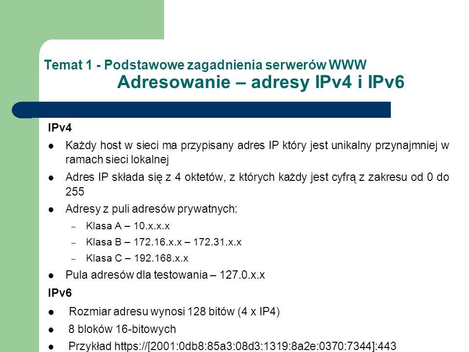 Temat 1 - Podstawowe zagadnienia serwerów WWW Adresowanie – adresy IPv4 i IPv6