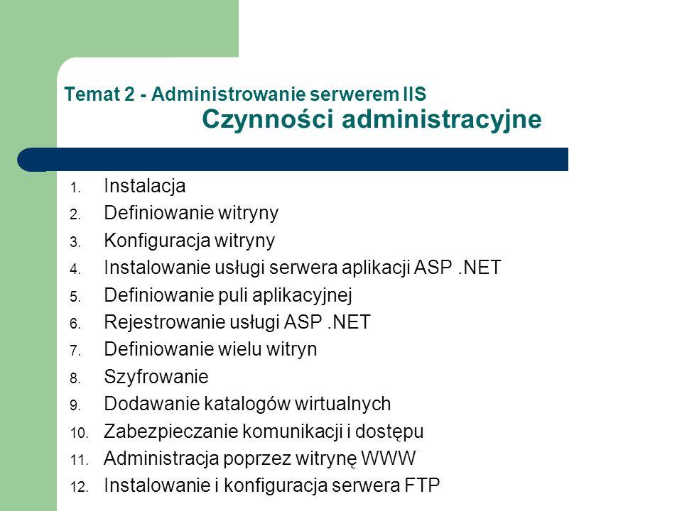 Temat 2 - Administrowanie serwerem IIS Czynności administracyjne