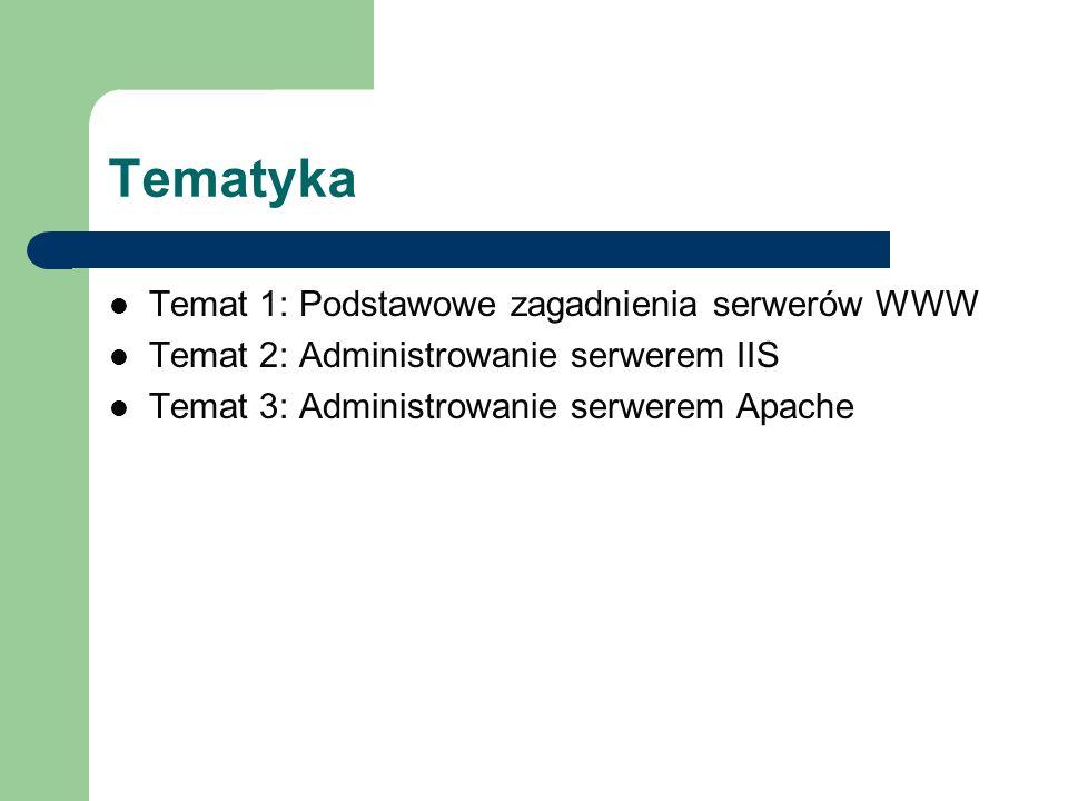 Tematyka Temat 1: Podstawowe zagadnienia serwerów WWW