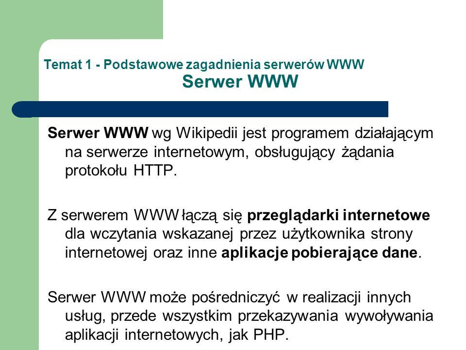 Temat 1 - Podstawowe zagadnienia serwerów WWW Serwer WWW