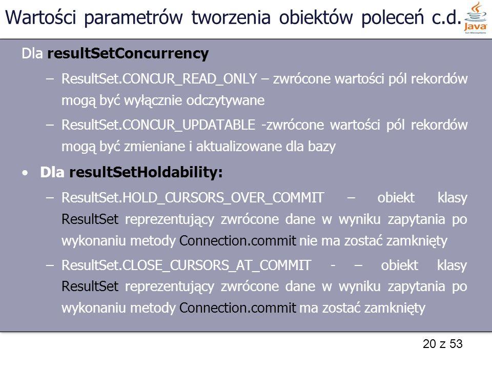 Wartości parametrów tworzenia obiektów poleceń c.d.