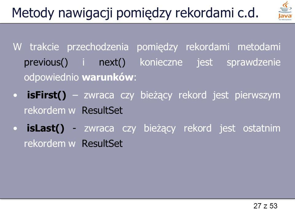 Metody nawigacji pomiędzy rekordami c.d.