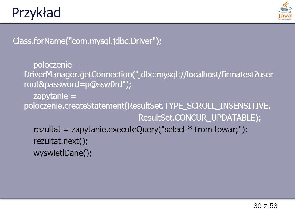 Przykład Class.forName( com.mysql.jdbc.Driver );