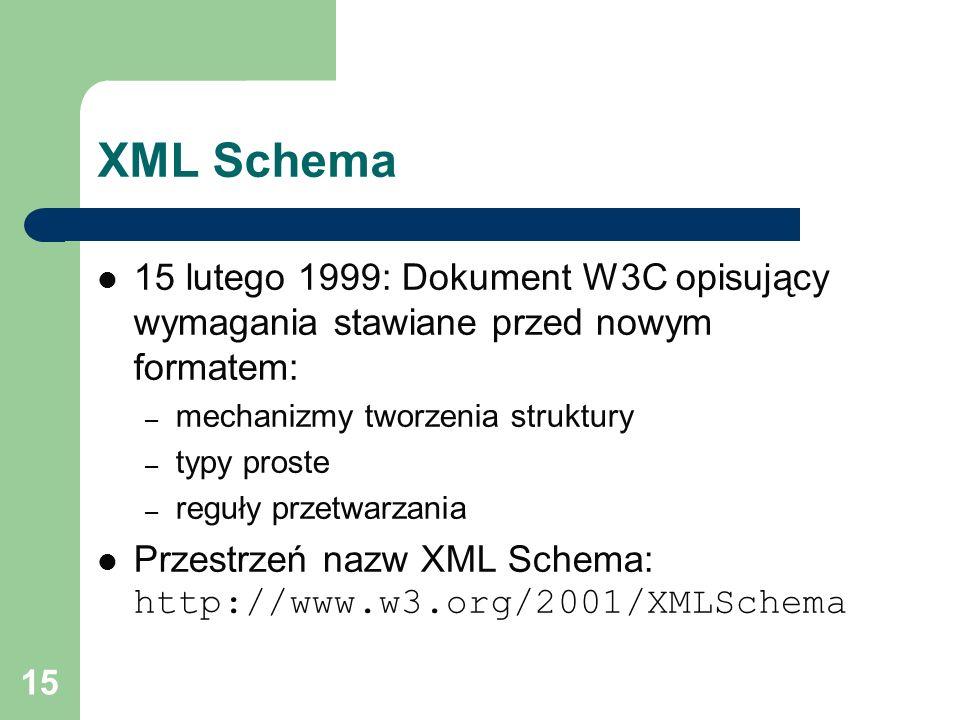 XML Schema 15 lutego 1999: Dokument W3C opisujący wymagania stawiane przed nowym formatem: mechanizmy tworzenia struktury.