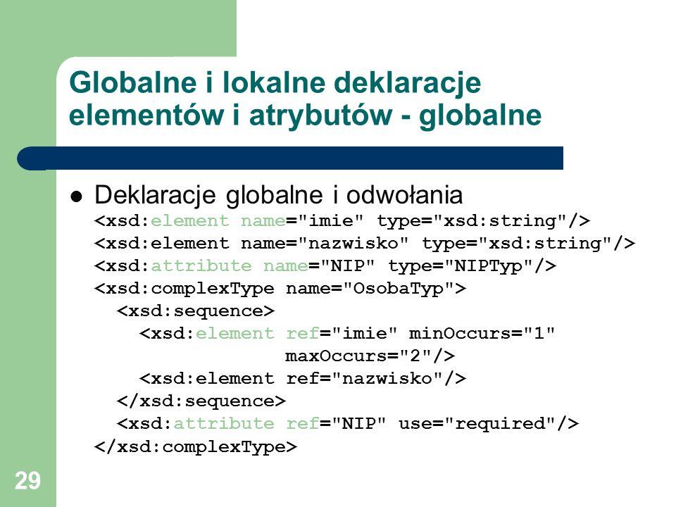 Globalne i lokalne deklaracje elementów i atrybutów - globalne