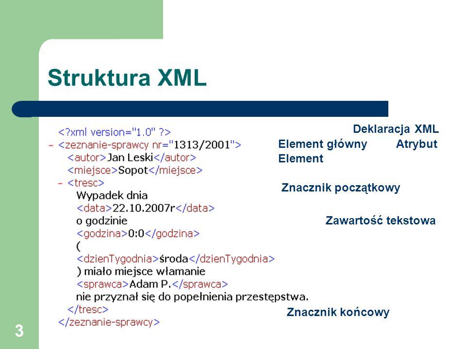 Struktura XML Deklaracja XML Element główny Atrybut Element