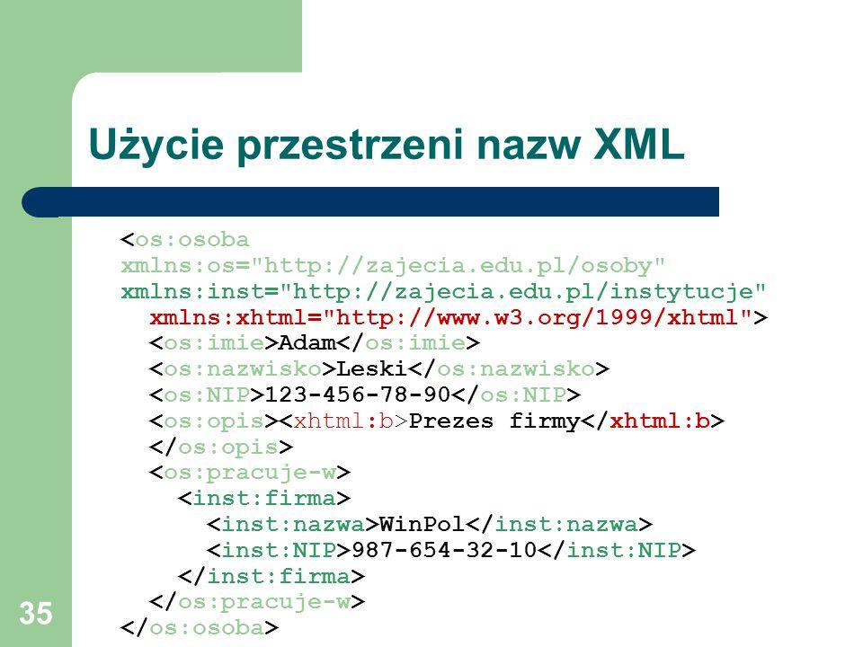 Użycie przestrzeni nazw XML
