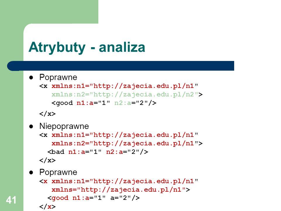 Atrybuty - analiza Poprawne <x xmlns:n1= http://zajecia.edu.pl/n1 xmlns:n2= http://zajecia.edu.pl/n2 > <good n1:a= 1 n2:a= 2 /> </x>