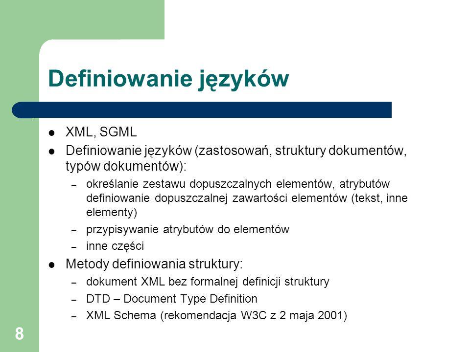 Definiowanie języków XML, SGML