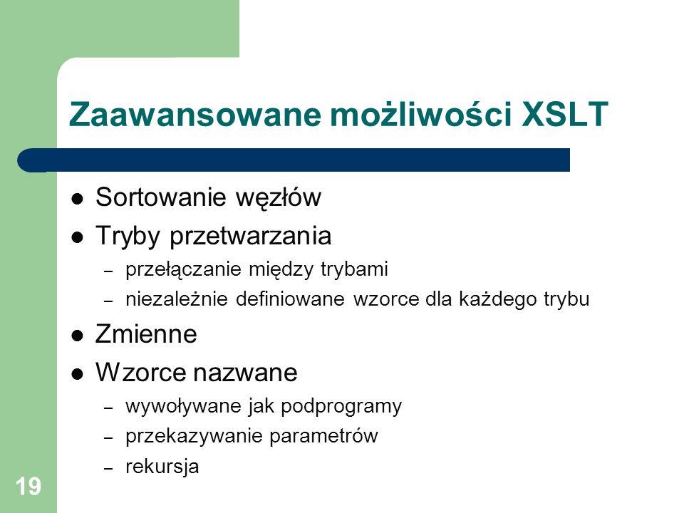 Zaawansowane możliwości XSLT