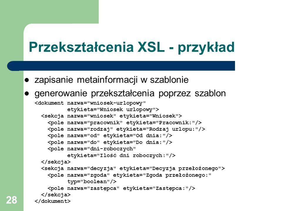 Przekształcenia XSL - przykład
