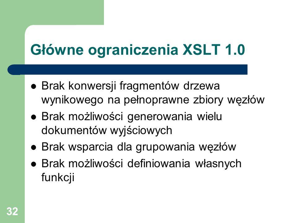 Główne ograniczenia XSLT 1.0