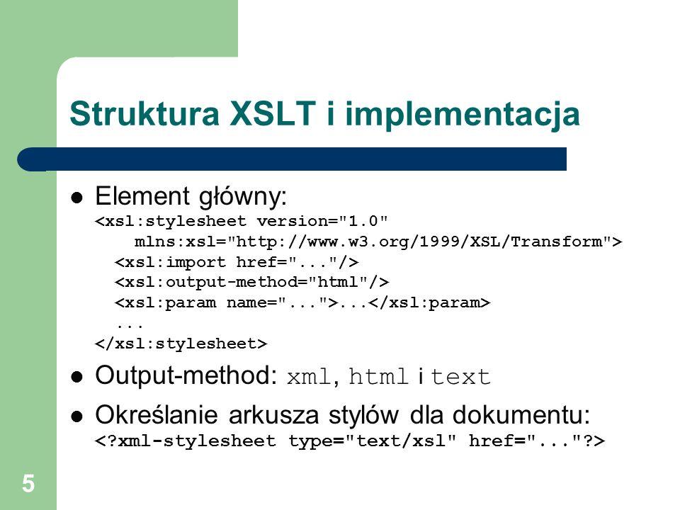 Struktura XSLT i implementacja