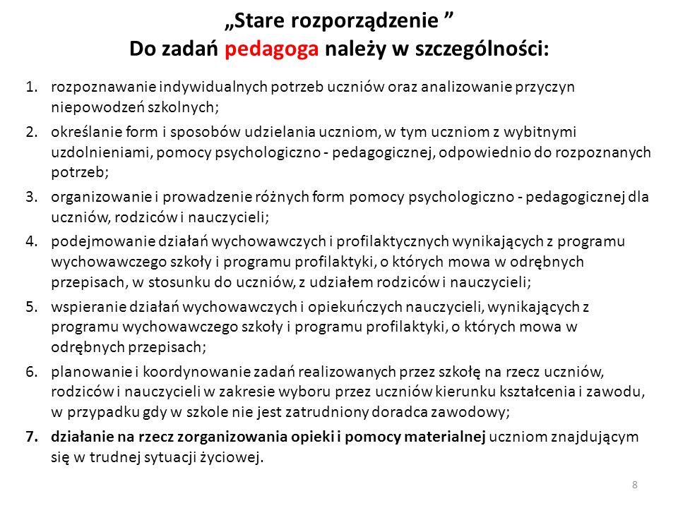 """""""Stare rozporządzenie Do zadań pedagoga należy w szczególności:"""